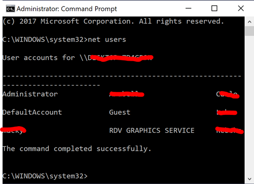 command prompt net users