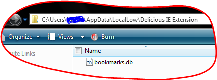 C:\Users\<user_name>\AppData\LocalLow\Delicious IE Extension\bookmarks.db