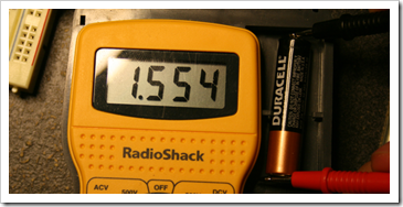 Voltage reading using a voltmeter