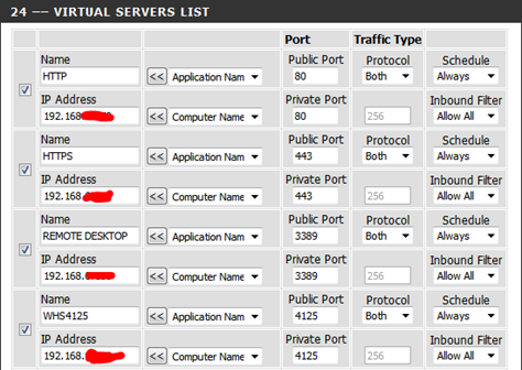 DIR-655 Virtual Servers List