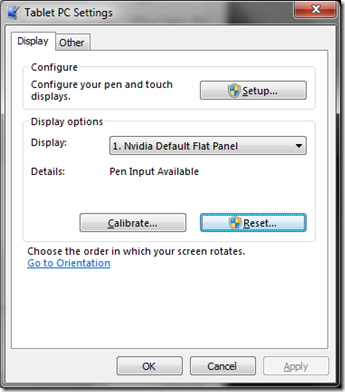 Windows 7: Tablet PC Settings; Calibration