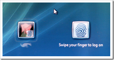 DigitalPersona: Swipe your finger to log on; Vista Log On Screen