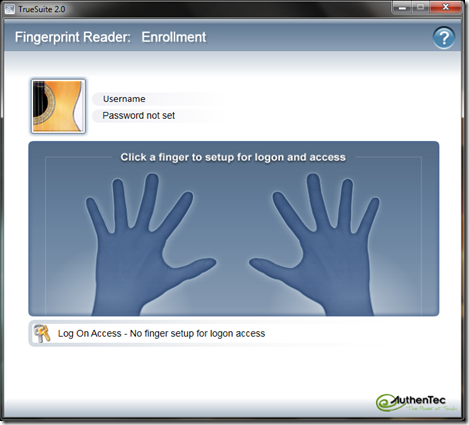AuthenTec TrueSuite 2.0 Fingerprint Reader: Enrollment.