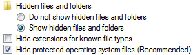 Hide protected operating system files (recommended)